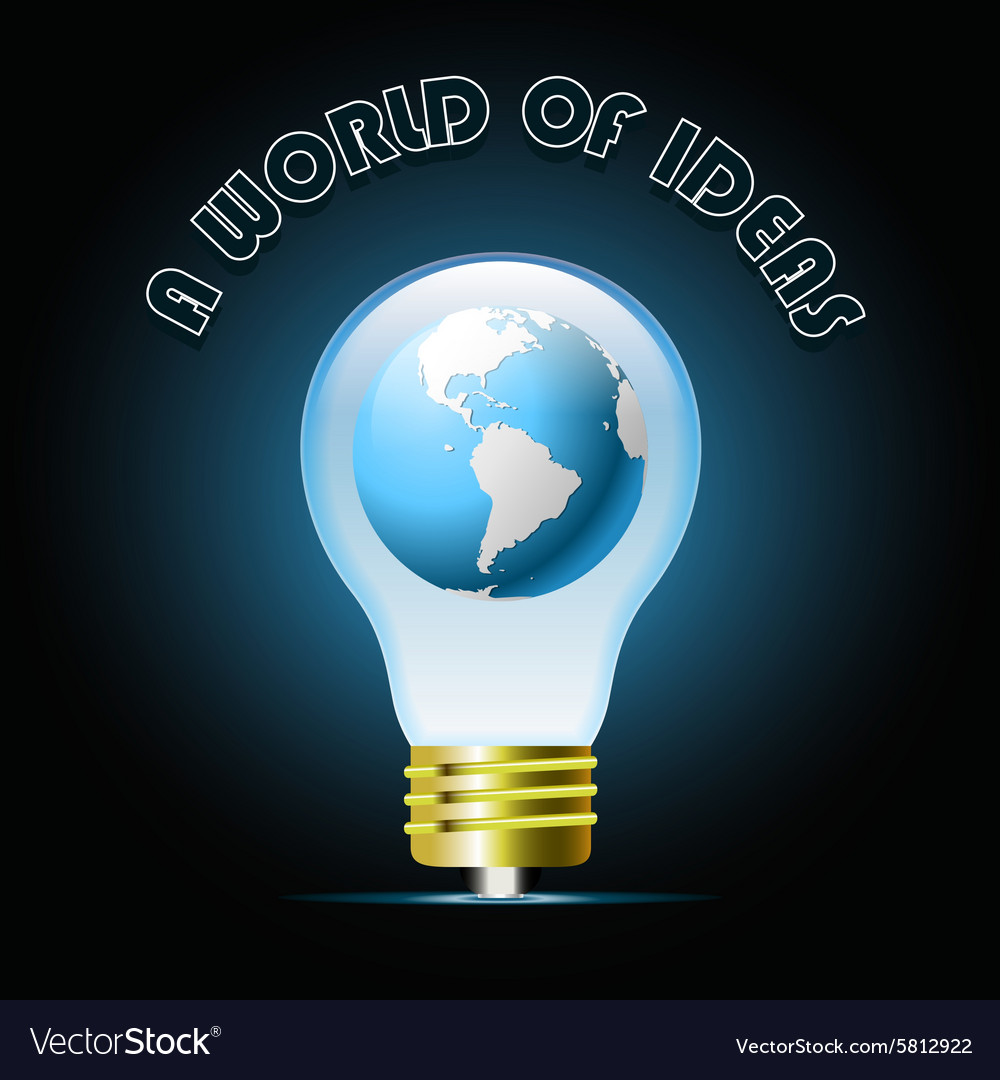 Globe in glowing blue light bulb Bulb light idea vector image