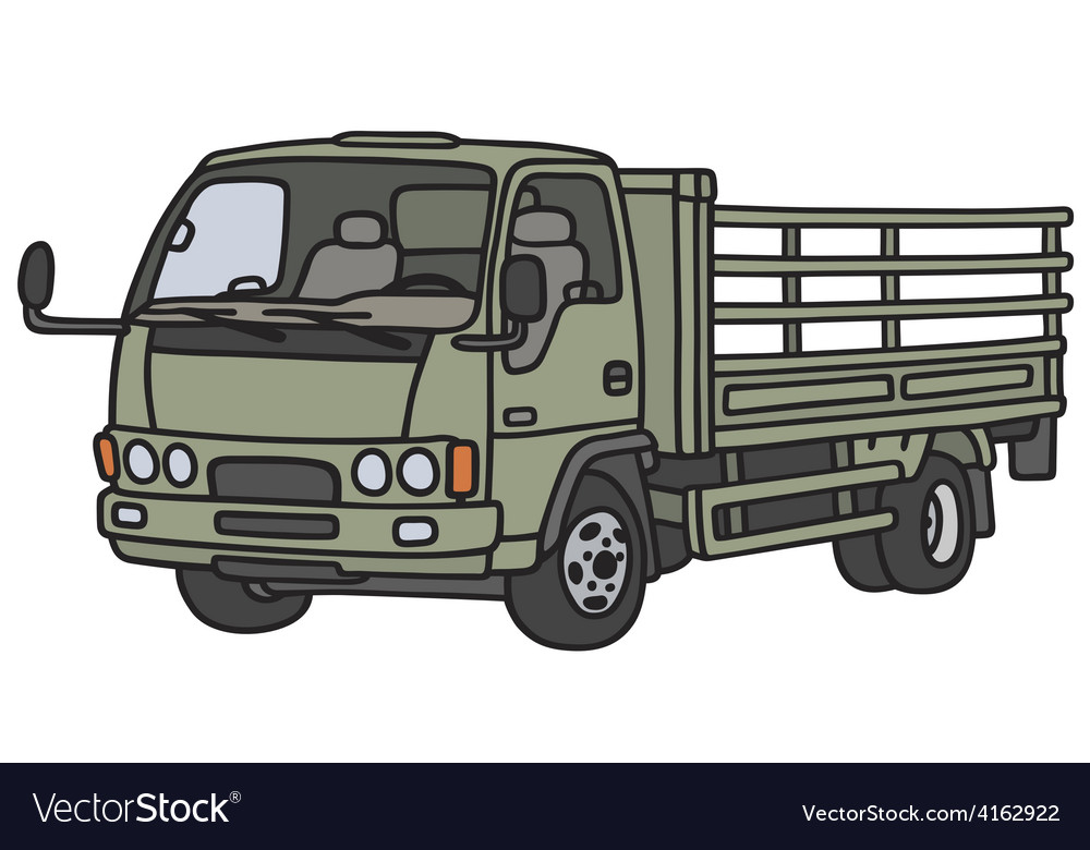 Green lorry truck