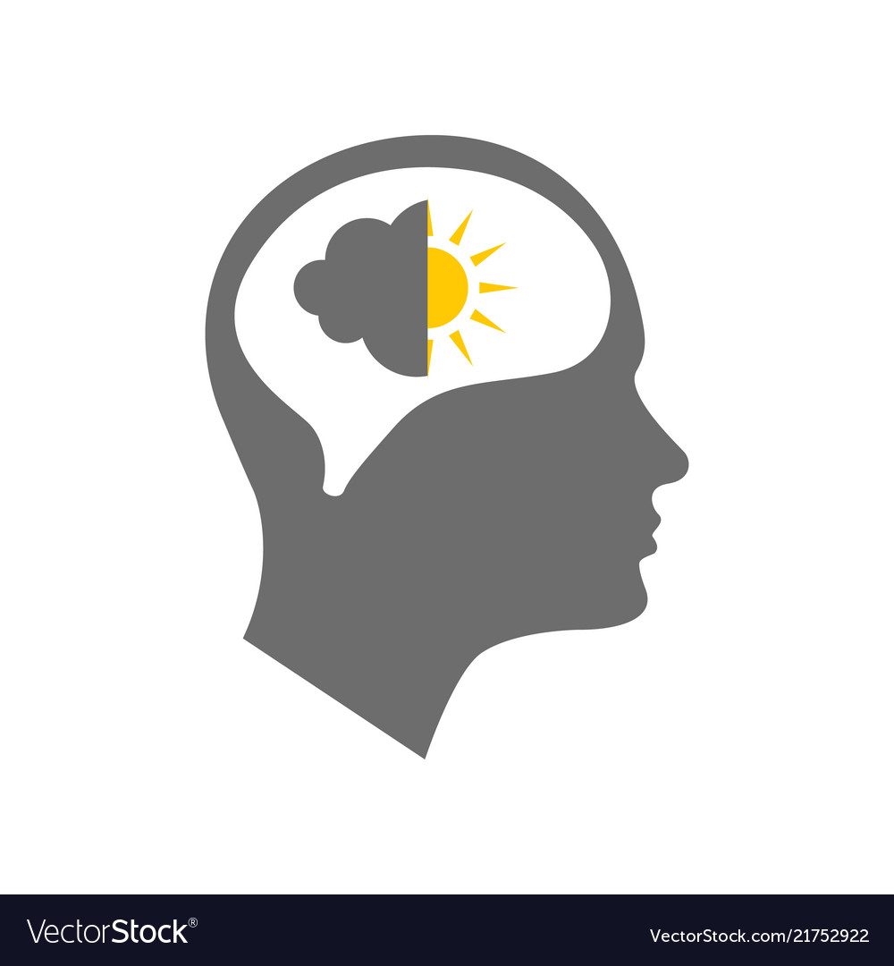 Head Icon For Bipolar Disorder Royalty Free Vector Image
