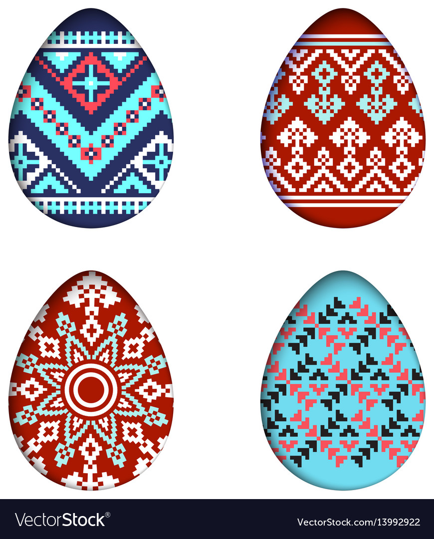 Isolated eggs set in paper cut style for