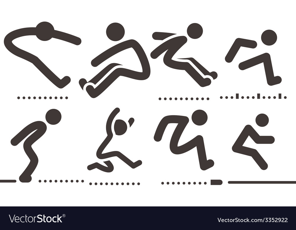Long jump icons vector image
