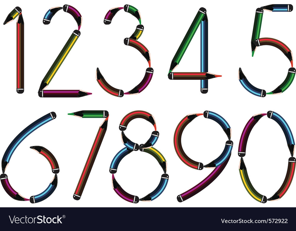 Pencil numbers vector image