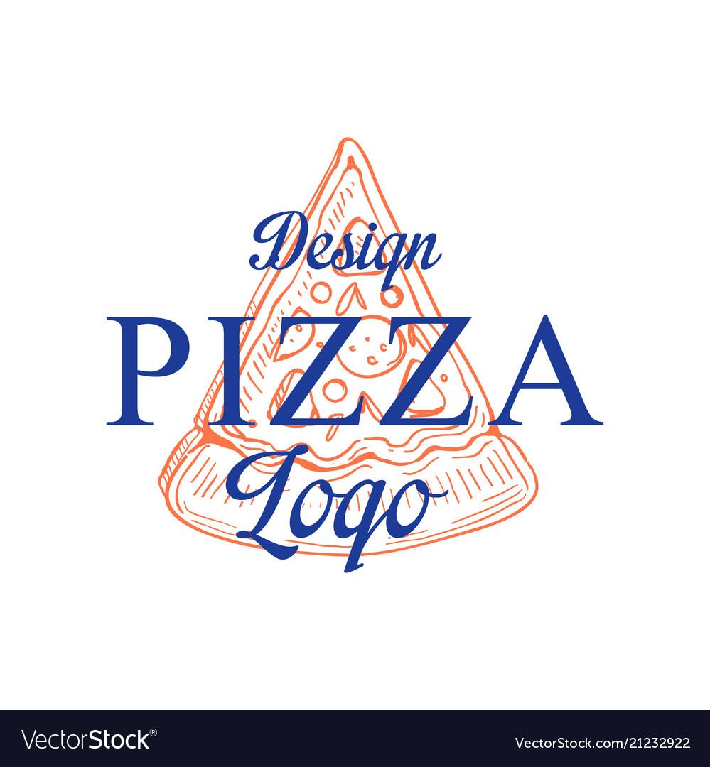 Pizza logo design emblem for cafe restaurant