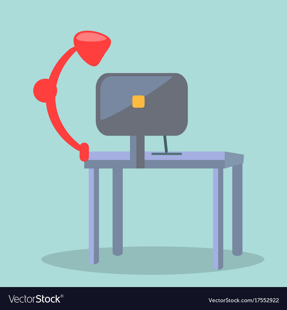 Red table-lamp and display of computer on table vector image