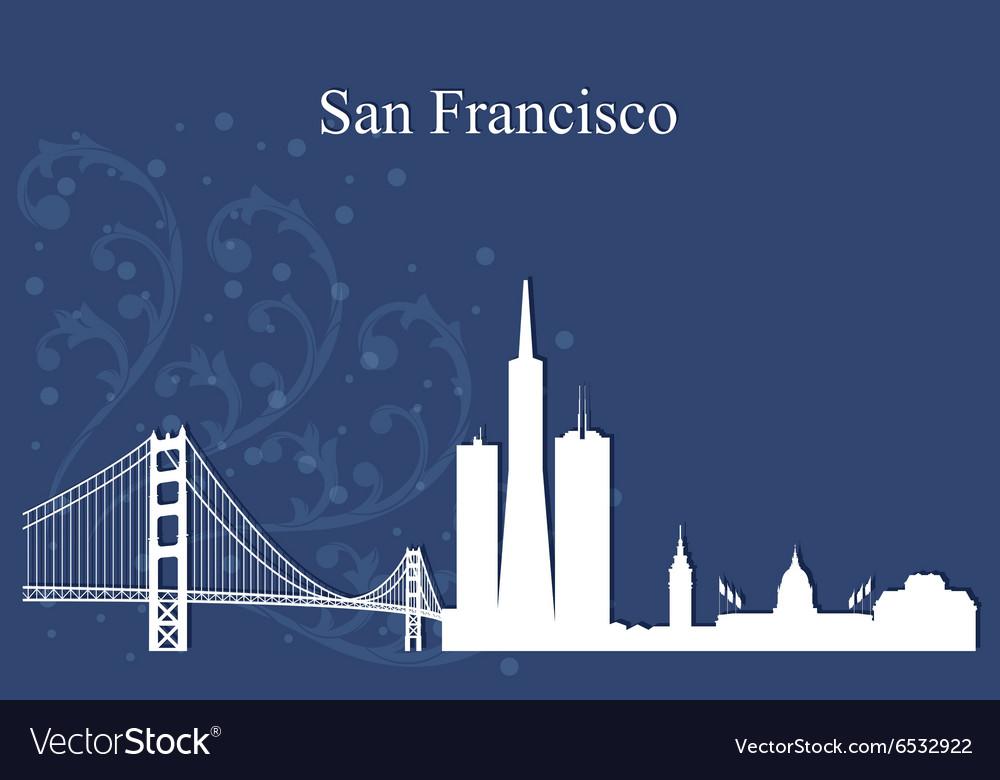 San Francisco city skyline on blue background
