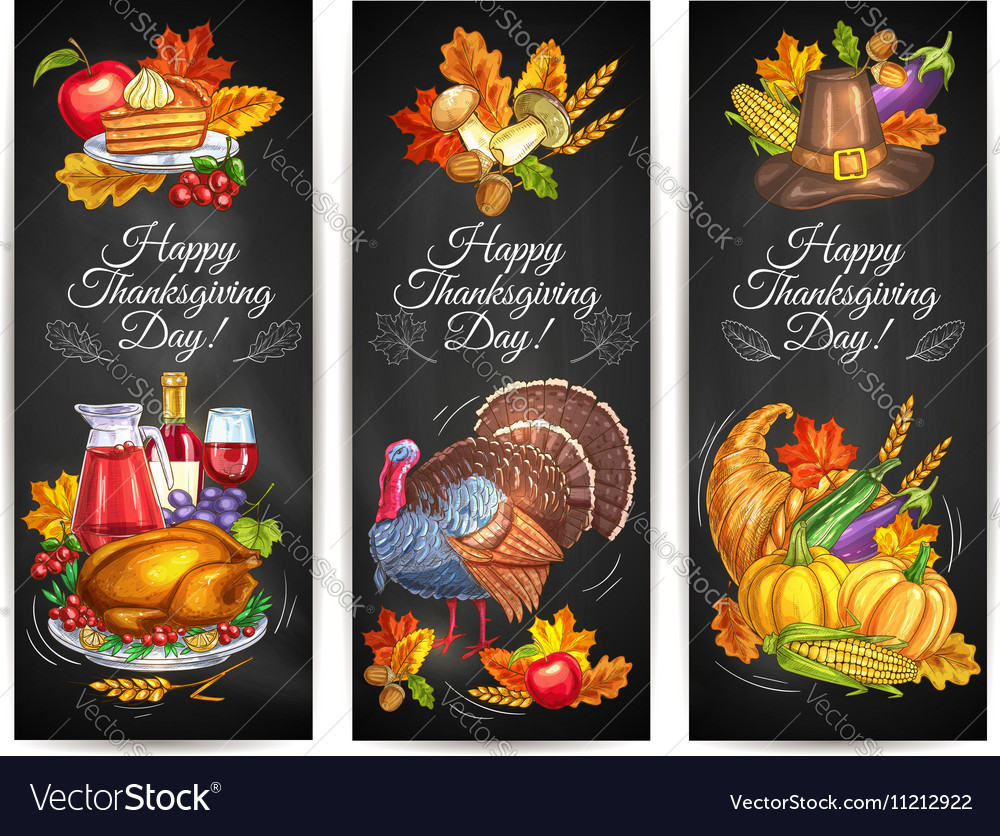Thanksgiving Day greeting banners posters