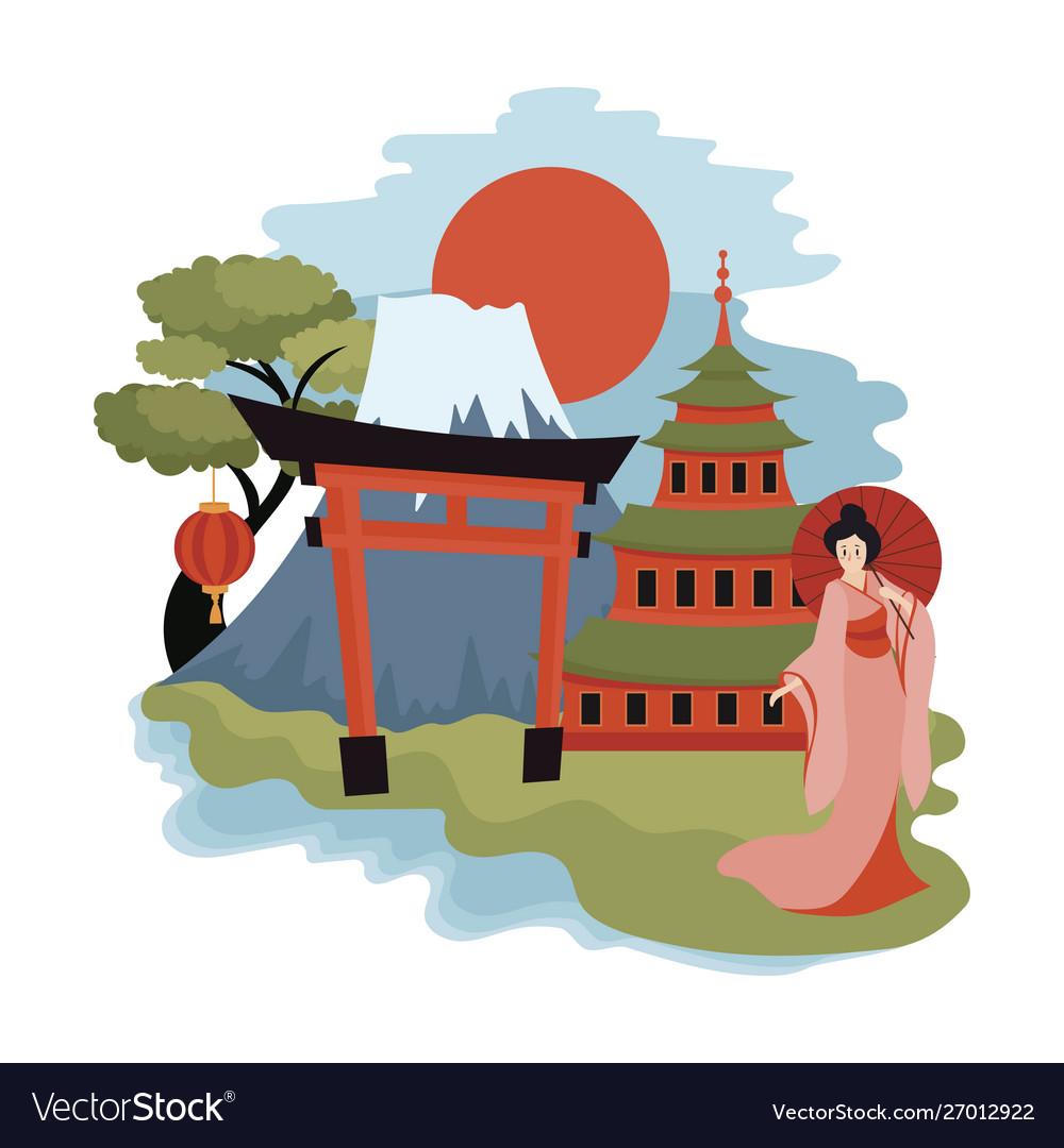 Tokyo landscape cartoon sights of