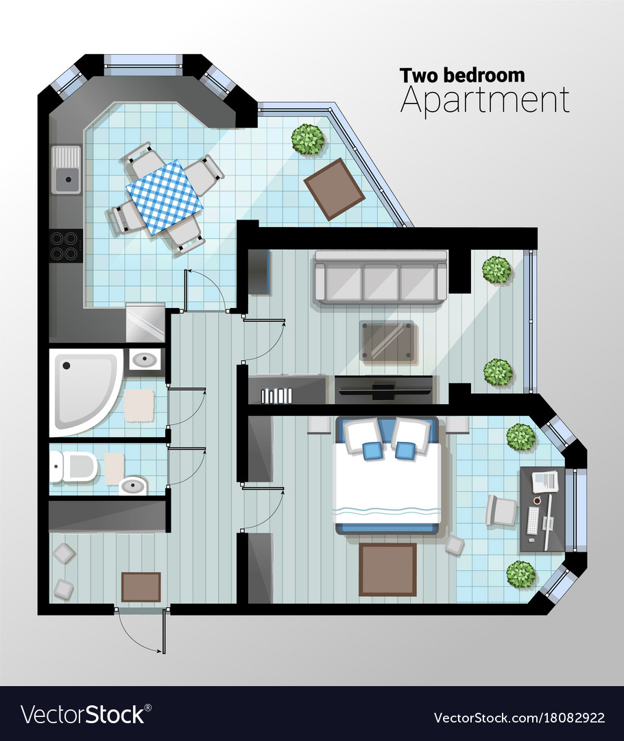 Top view of modern two bedroom vector image