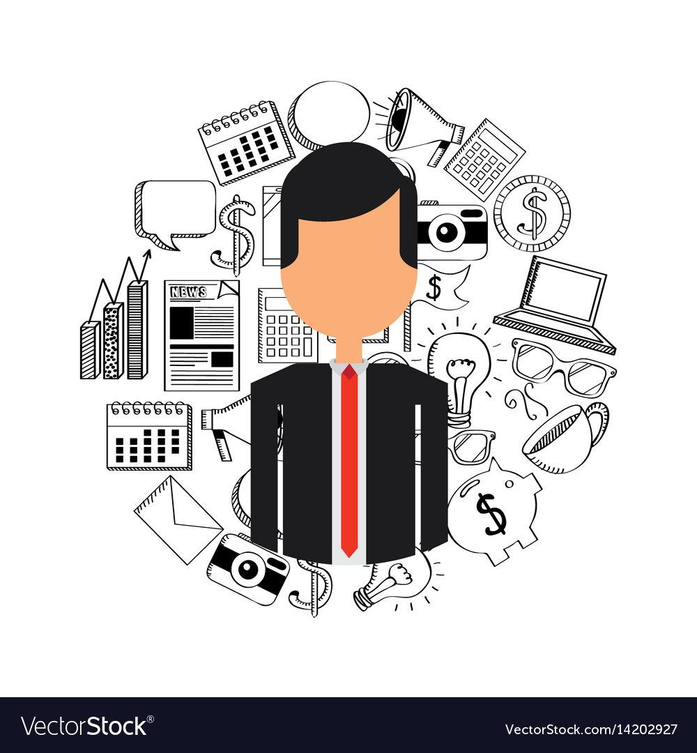 Business person with social marketing icons vector image