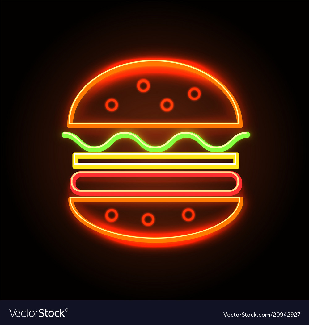 Cheeseburger neon sign poster