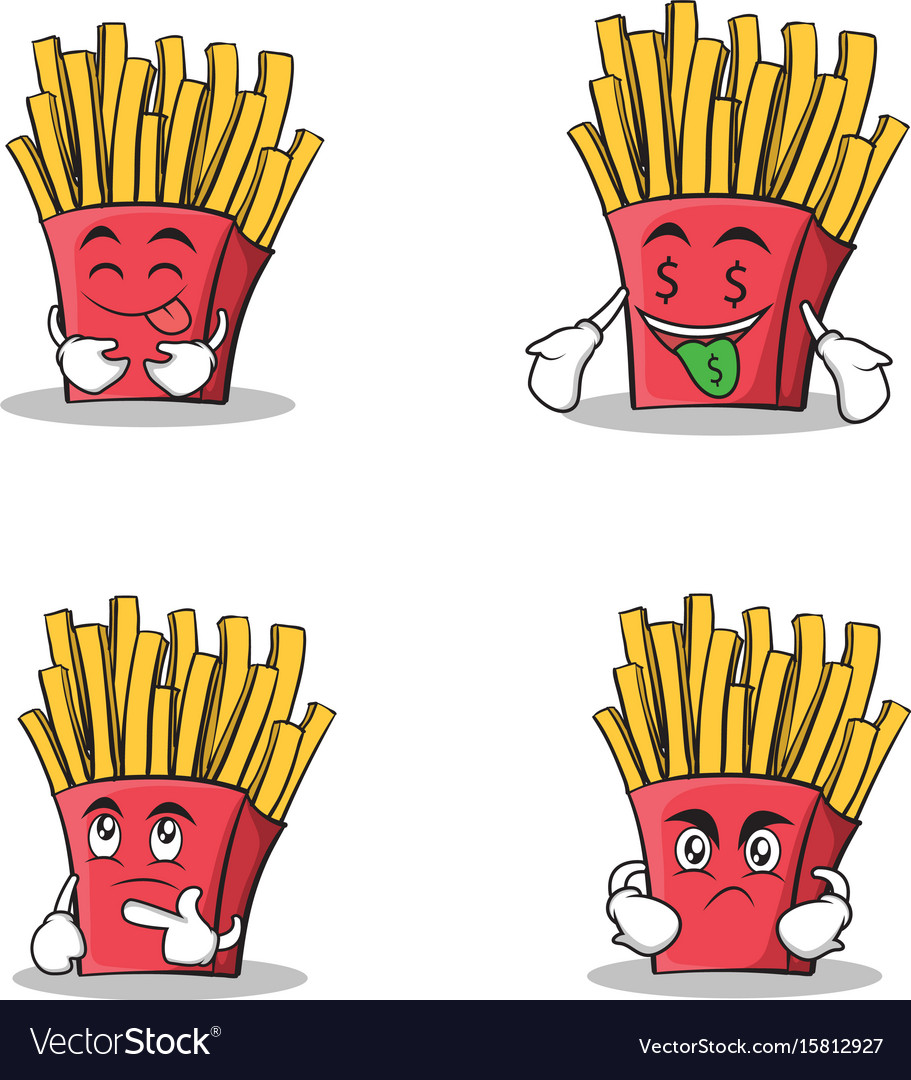 Collection stock french fries cartoon character vector image