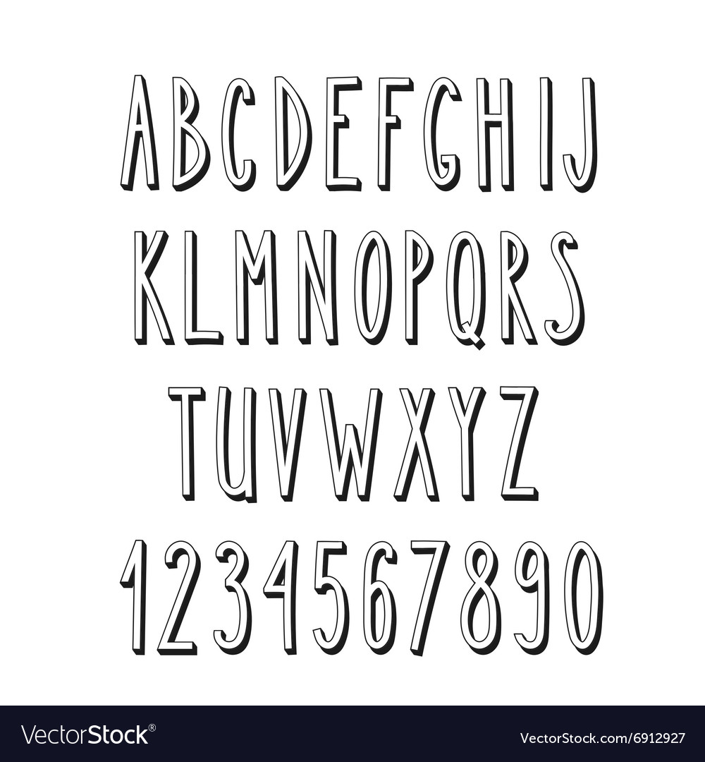 Doodle narrow alphabet simple letters