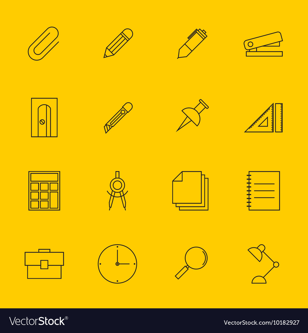 Education stationery icon set outline