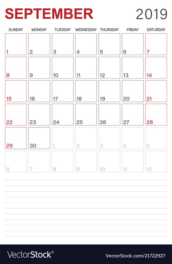 September Calendar.English Calendar September 2019