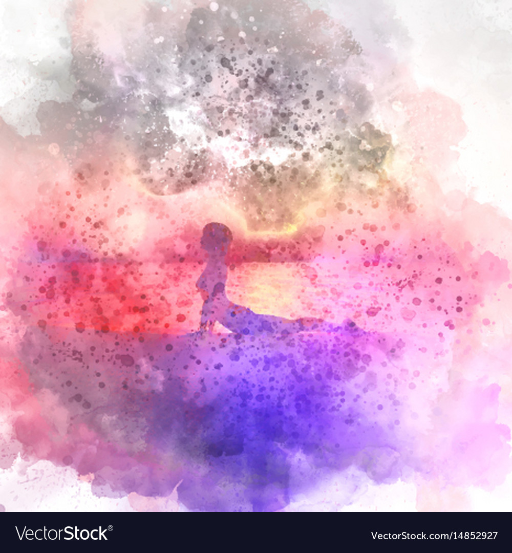 Female In Yoga Pose Watercolour Background Vector Image