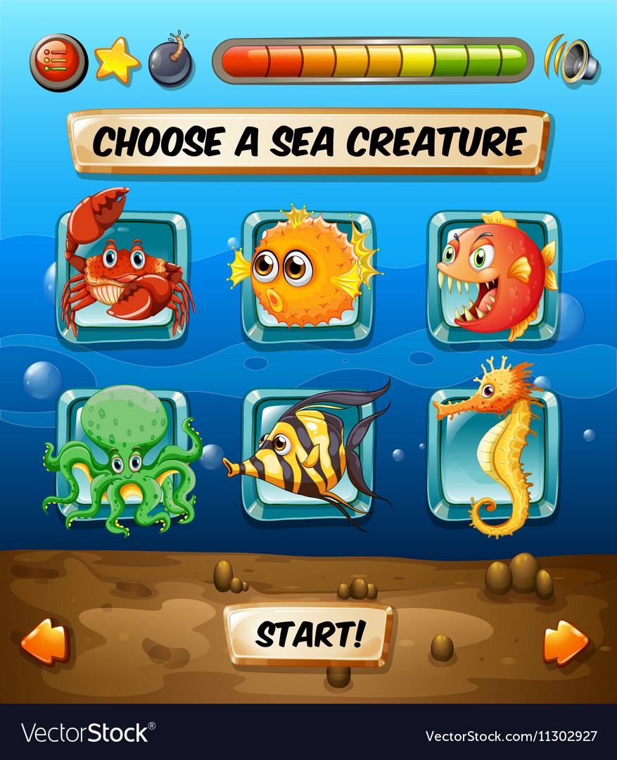 Game template with sea animals vector image