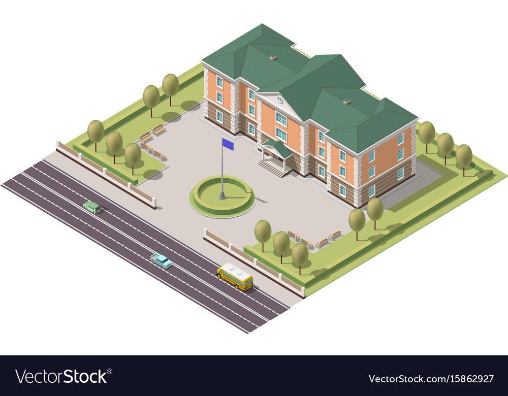 Isometric infographic element or university