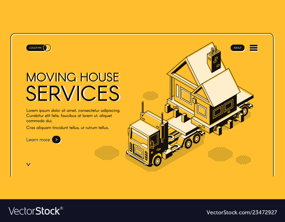 Moving house services isometric webpage