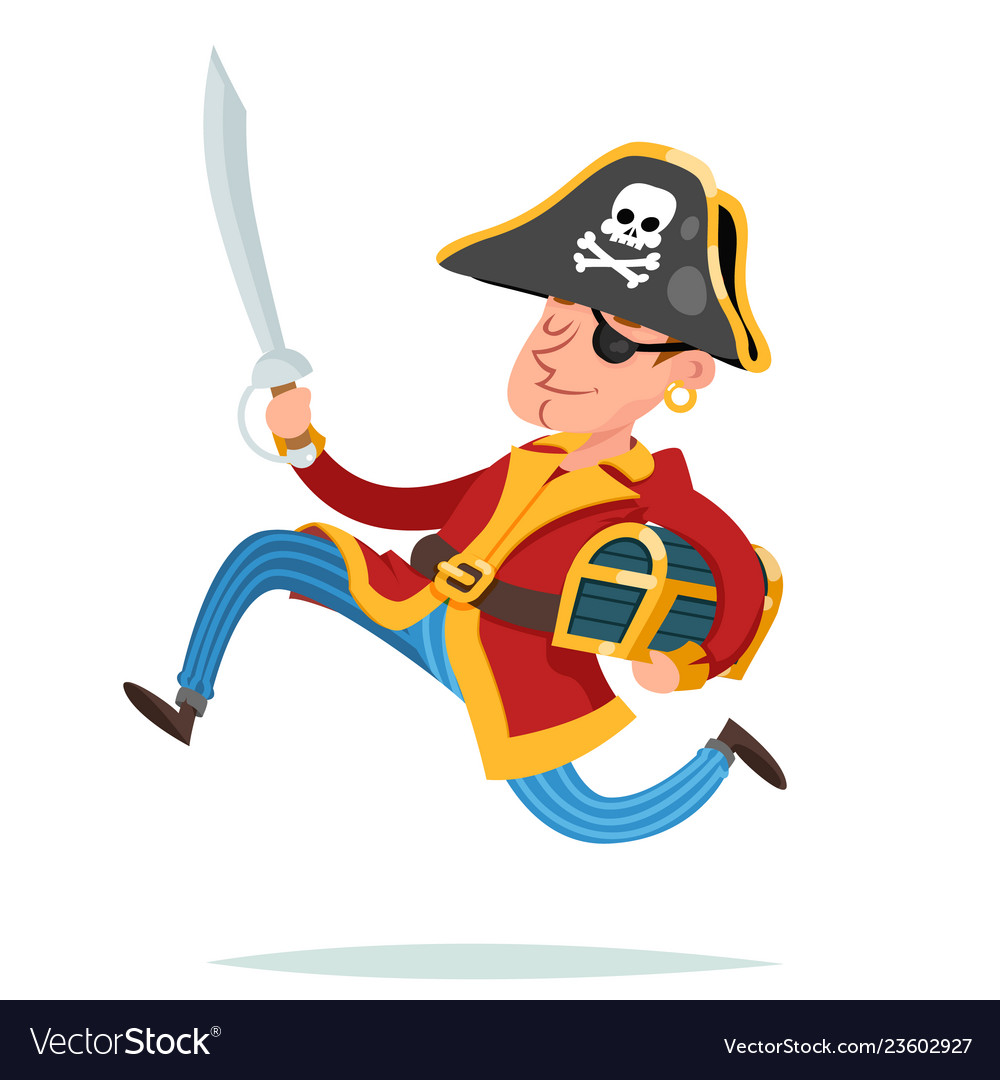 Pirate captain character running away with