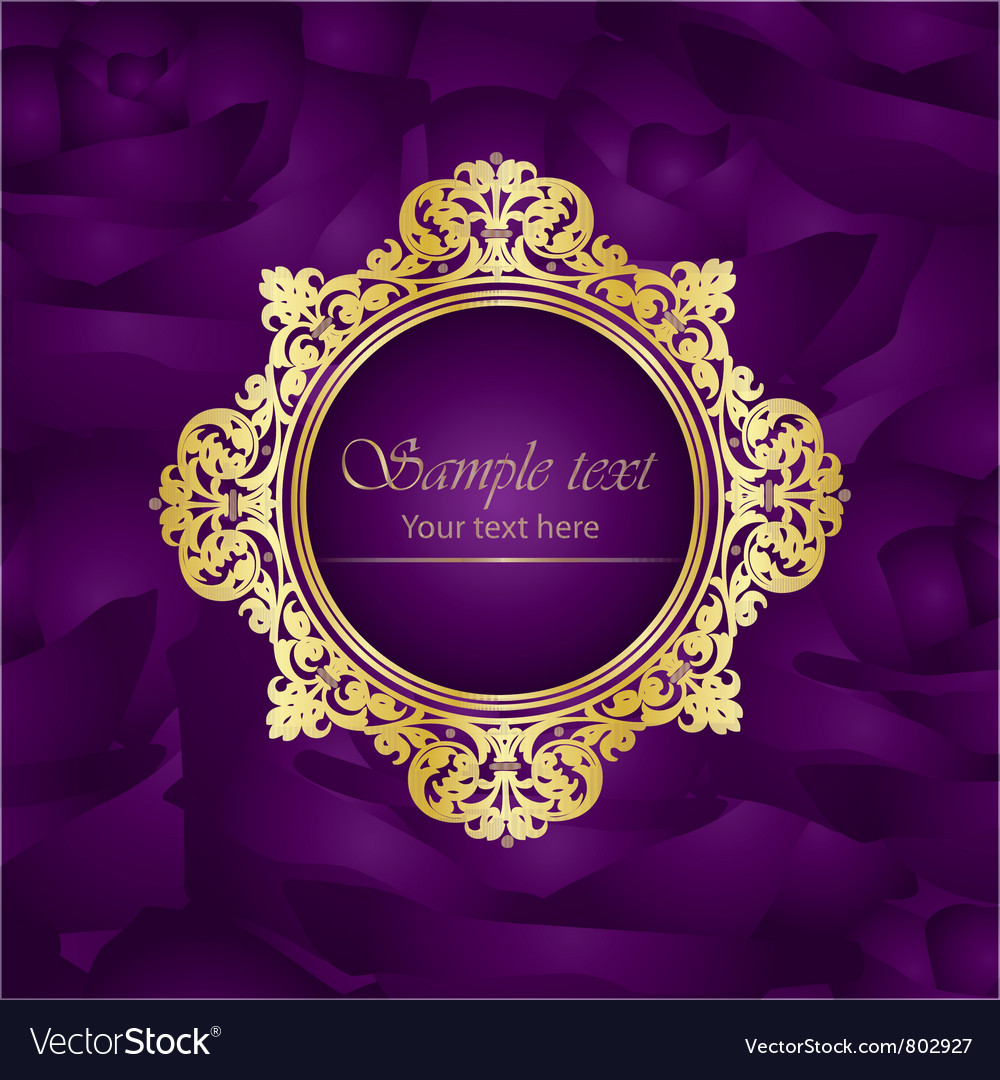 e9e3b83dbe00 Purple luxury square background gold frame roses Vector Image