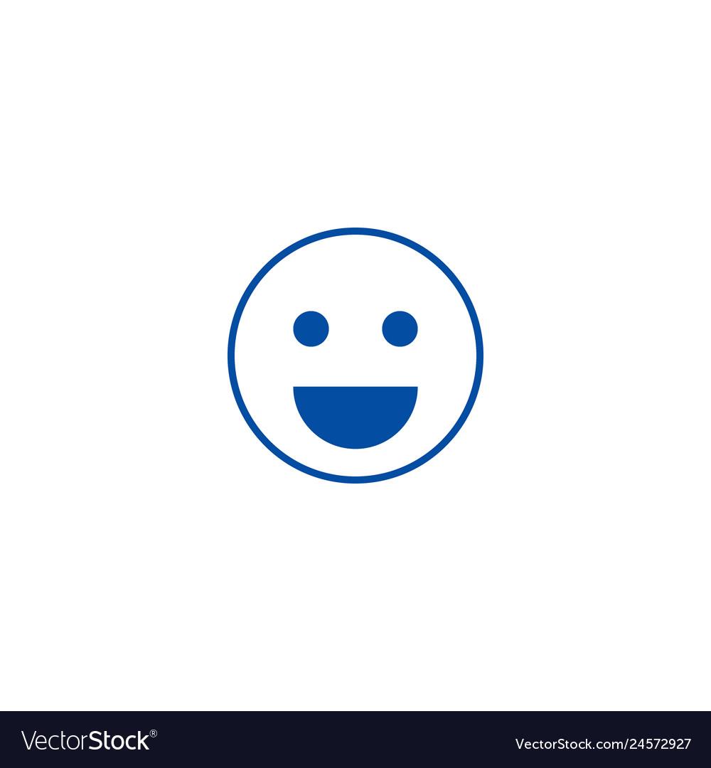 Smile emoji line icon concept smile emoji flat