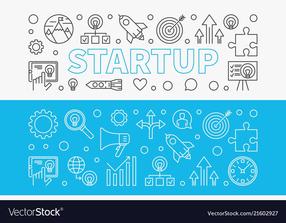 Startup horizontal banners set start-up