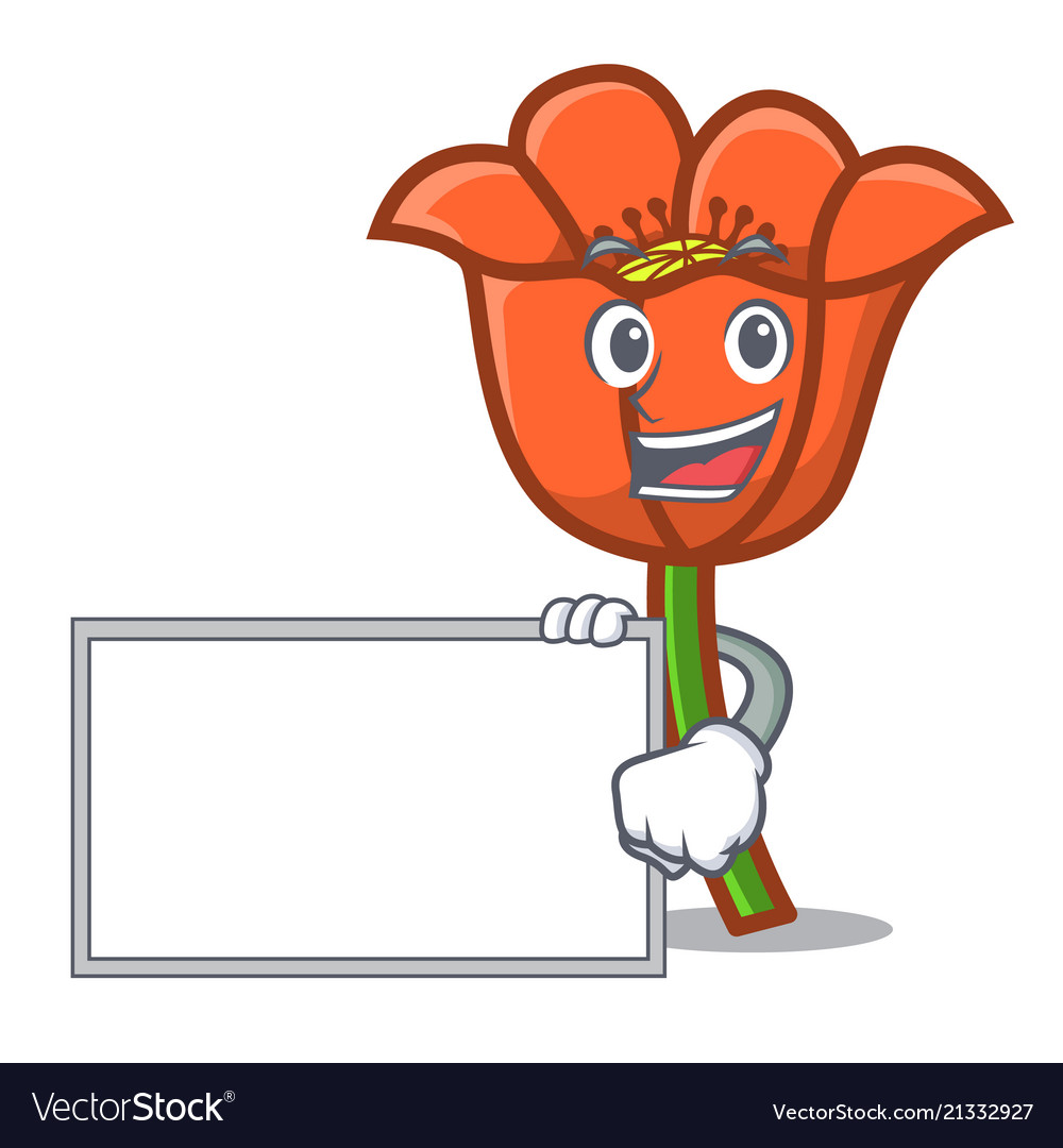 With Board Poppy Flower Character Cartoon Vector Image