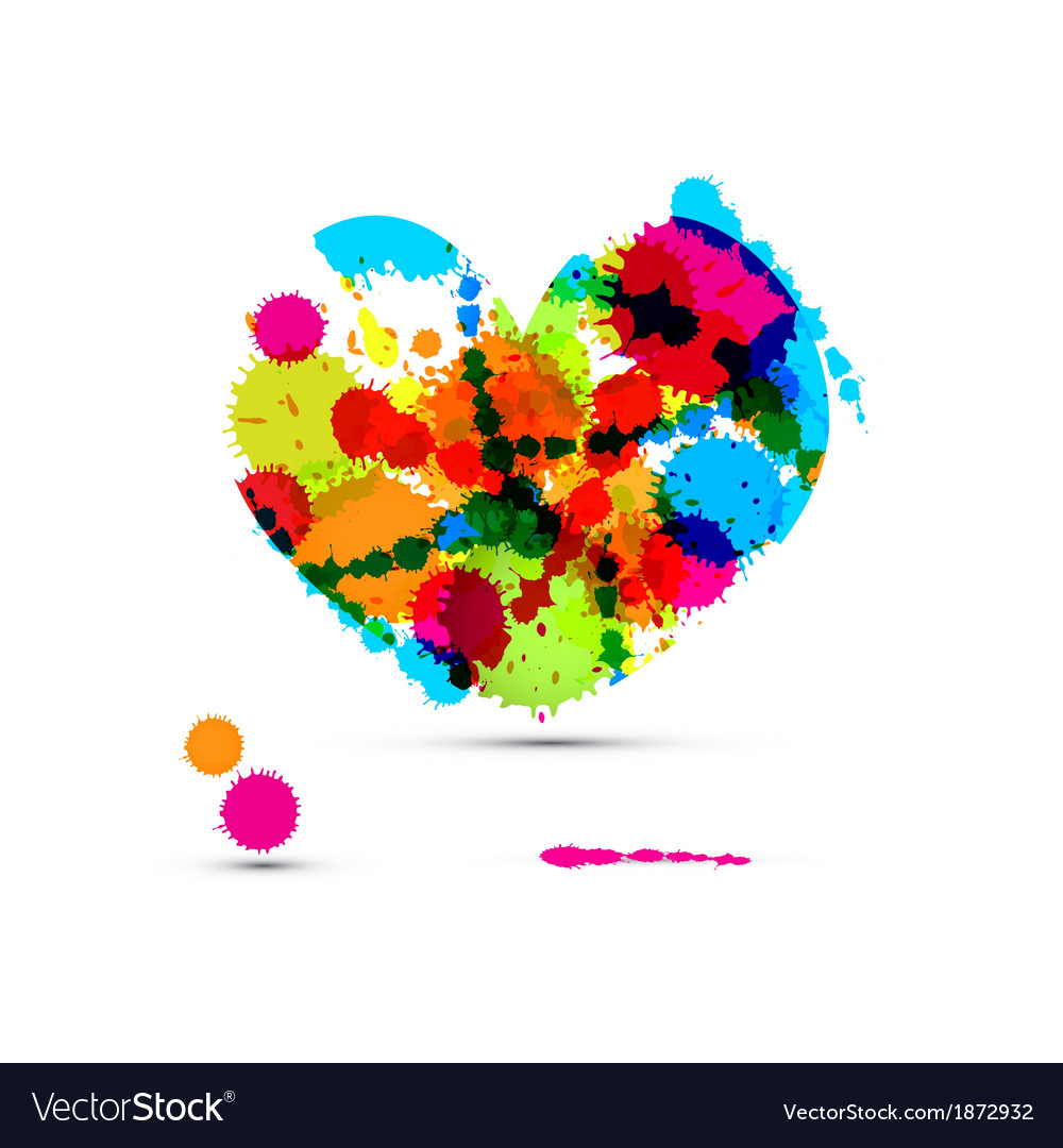 Abstract Colorful Heart Made From Splashes Blots