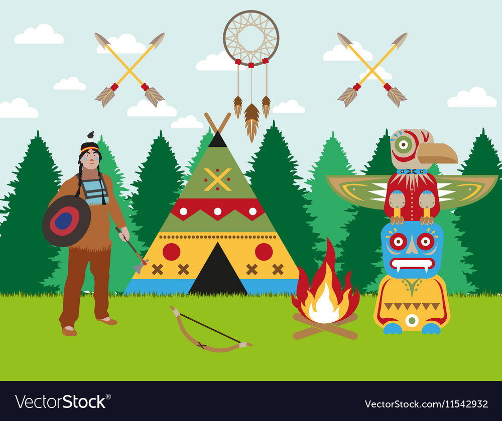 American indian landscape warrior wigwam and