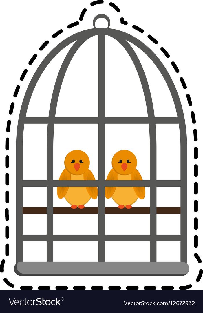Birds in a cage vector image