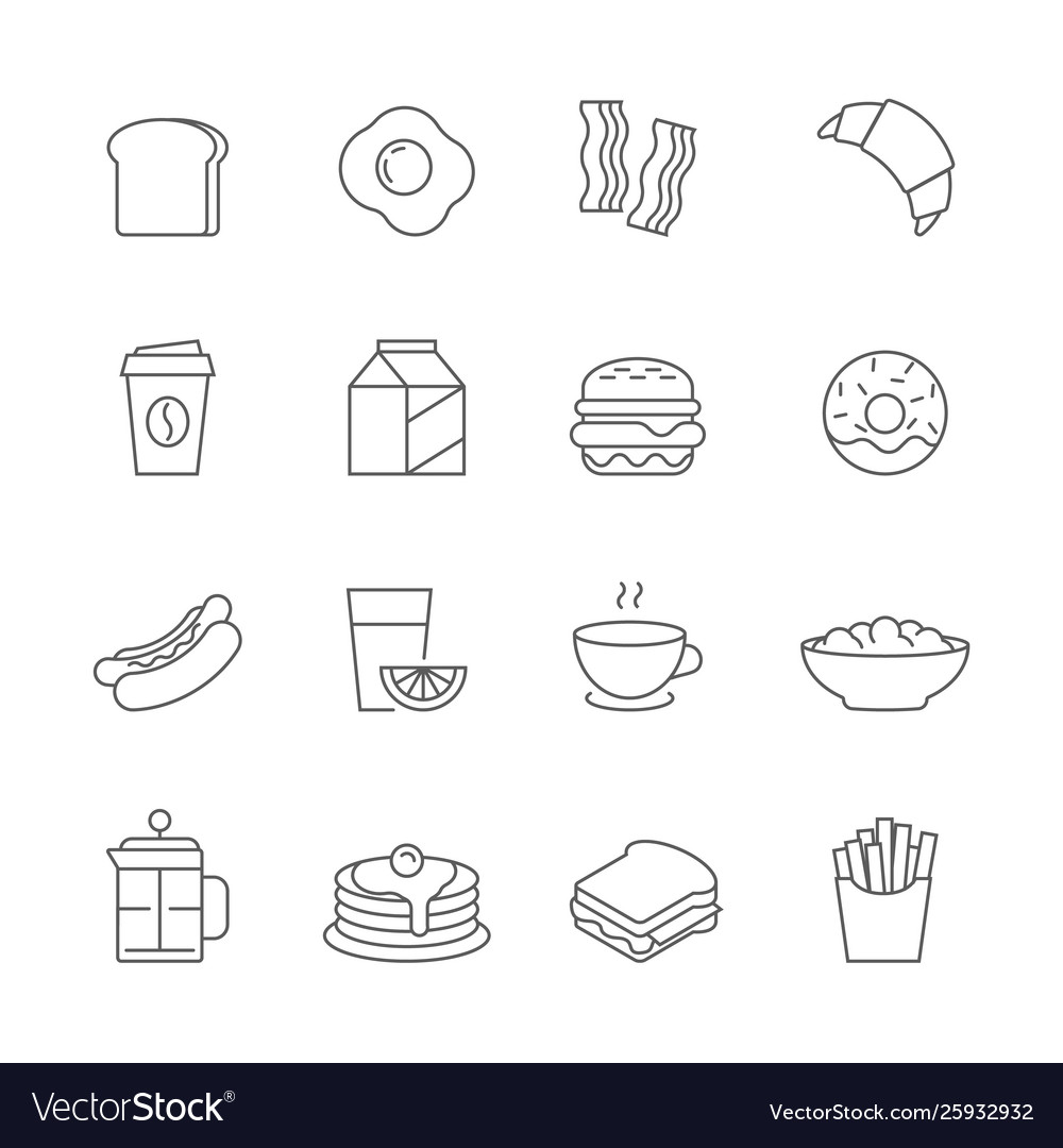 Breakfast and fastfood outline icons