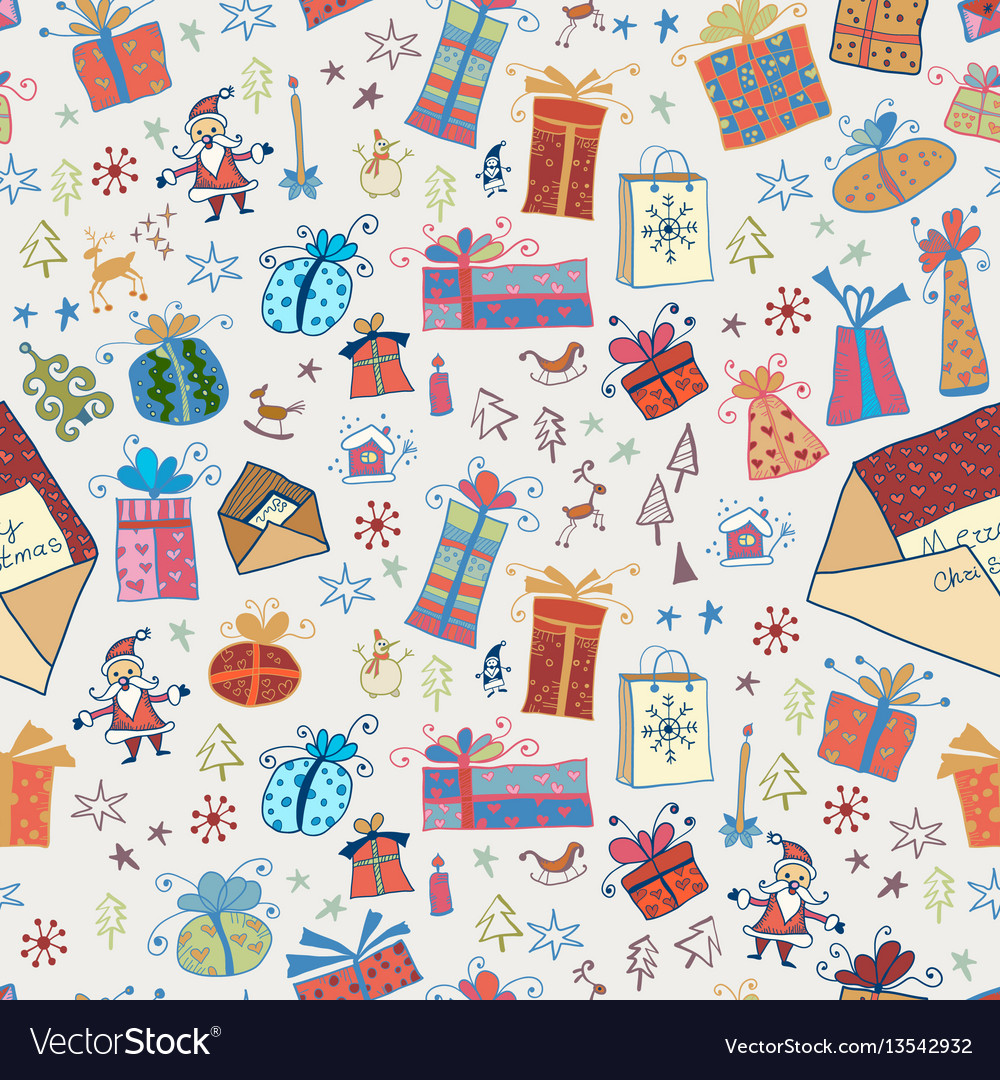 Hand drawn cartoon seamless pattern with gifts