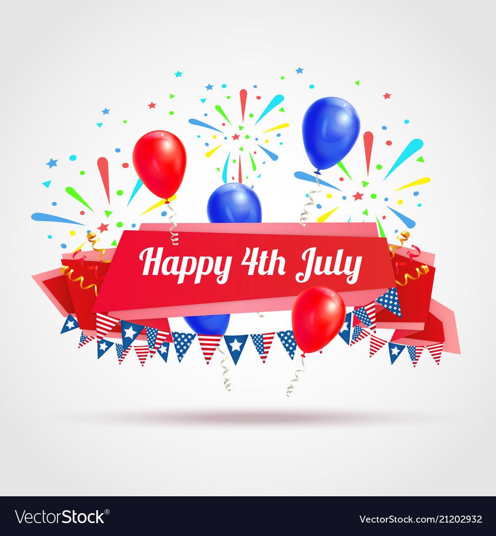 Happy 4th july greeting postcard