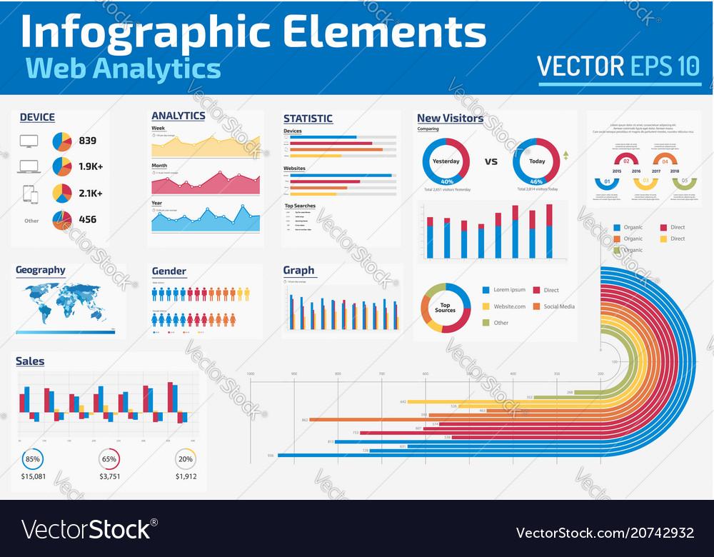 Infographic elements web analytics design template