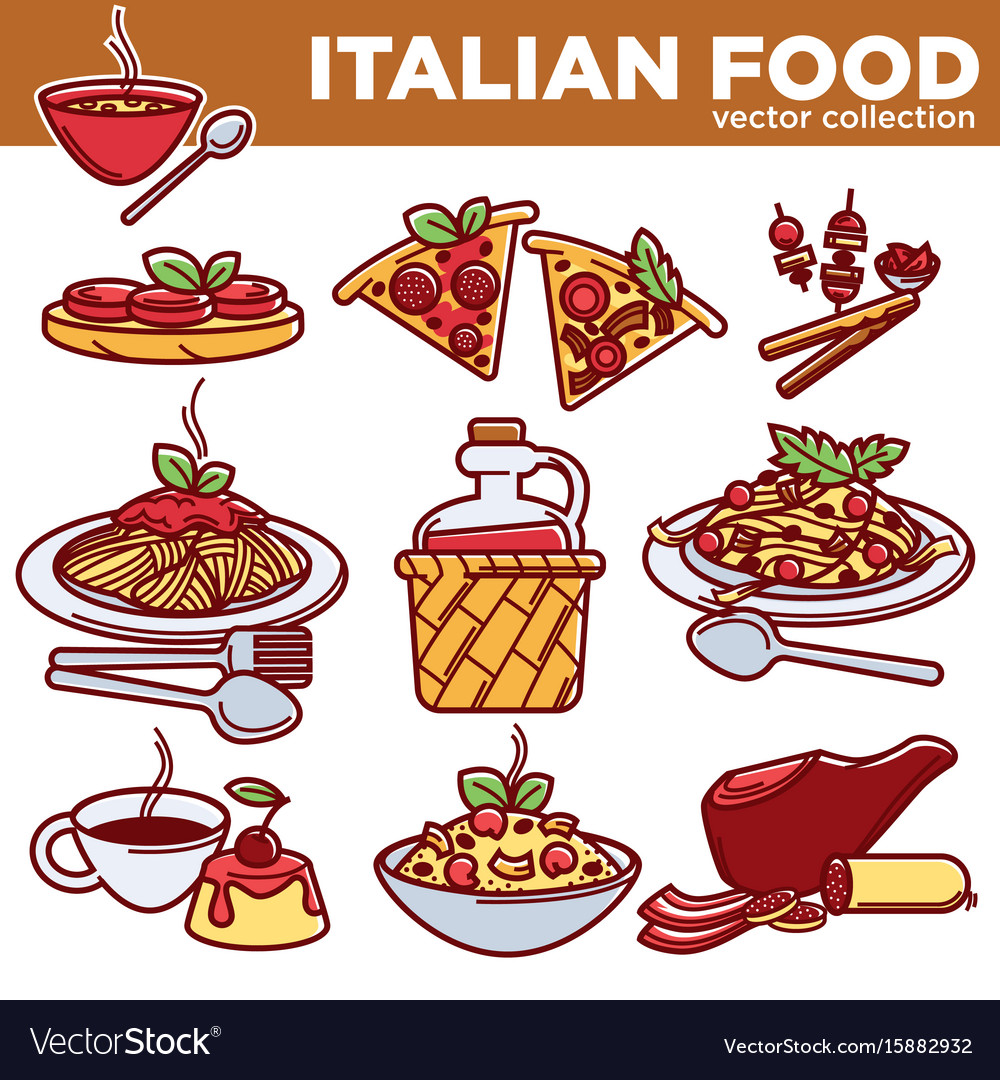 Italian food pizza pasta meat and dessert drink