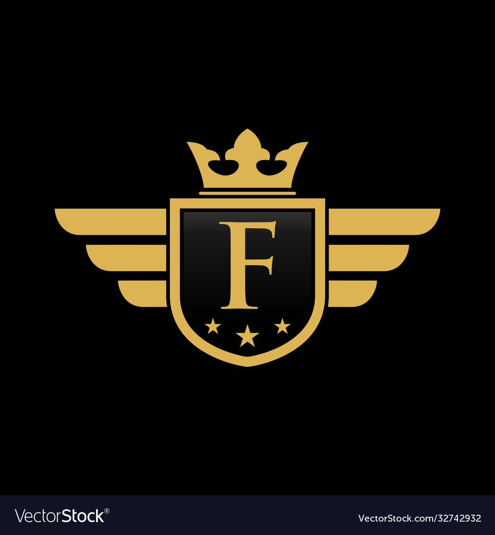 Letter f initial wing with shield and crown