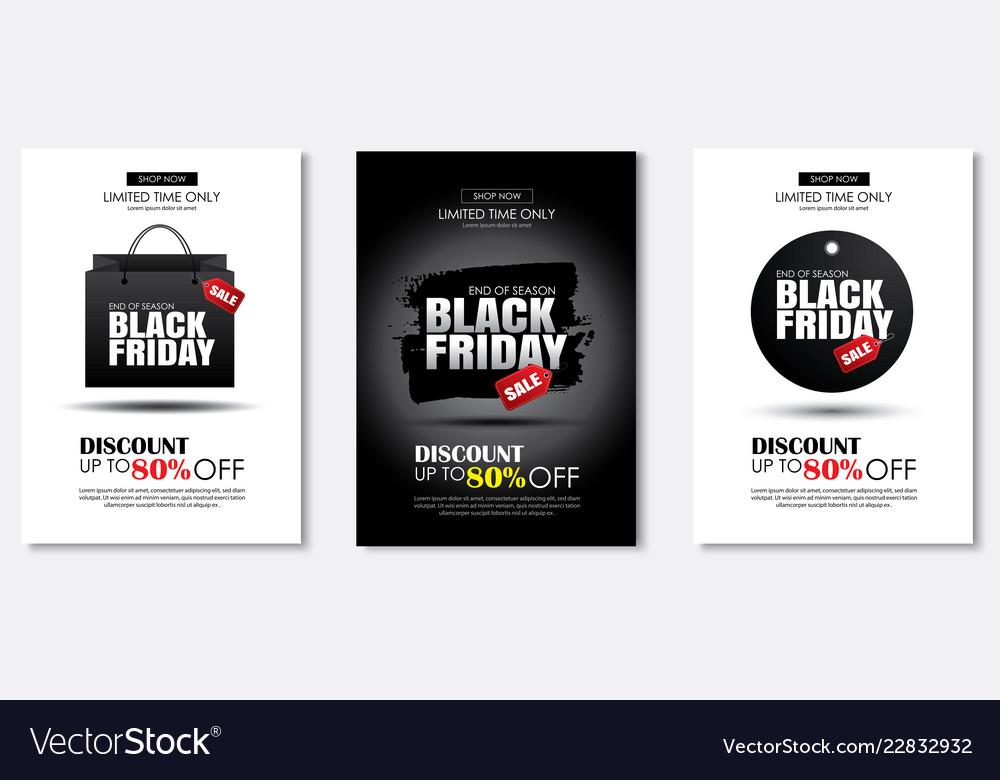 Set black friday sale flyer template use