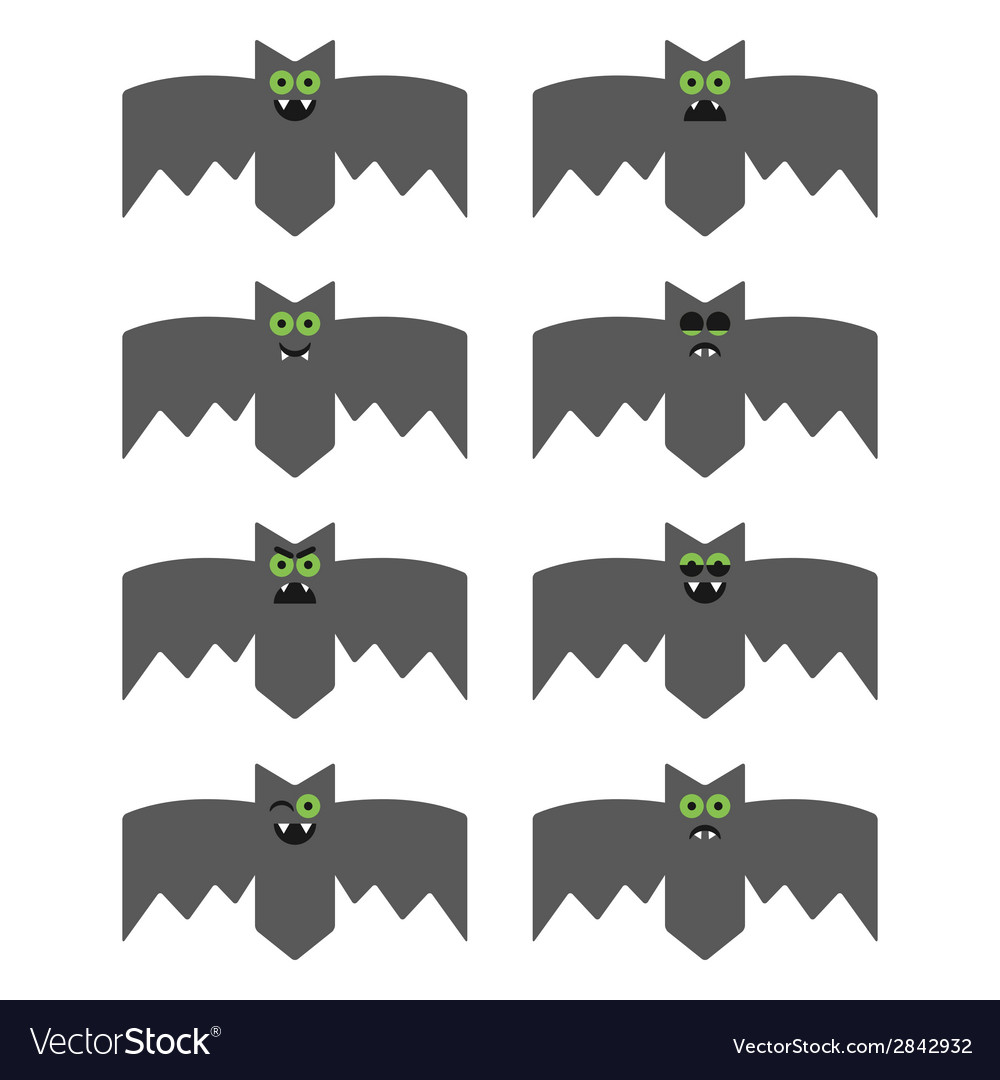 Set of bats decorative icons for Halloween