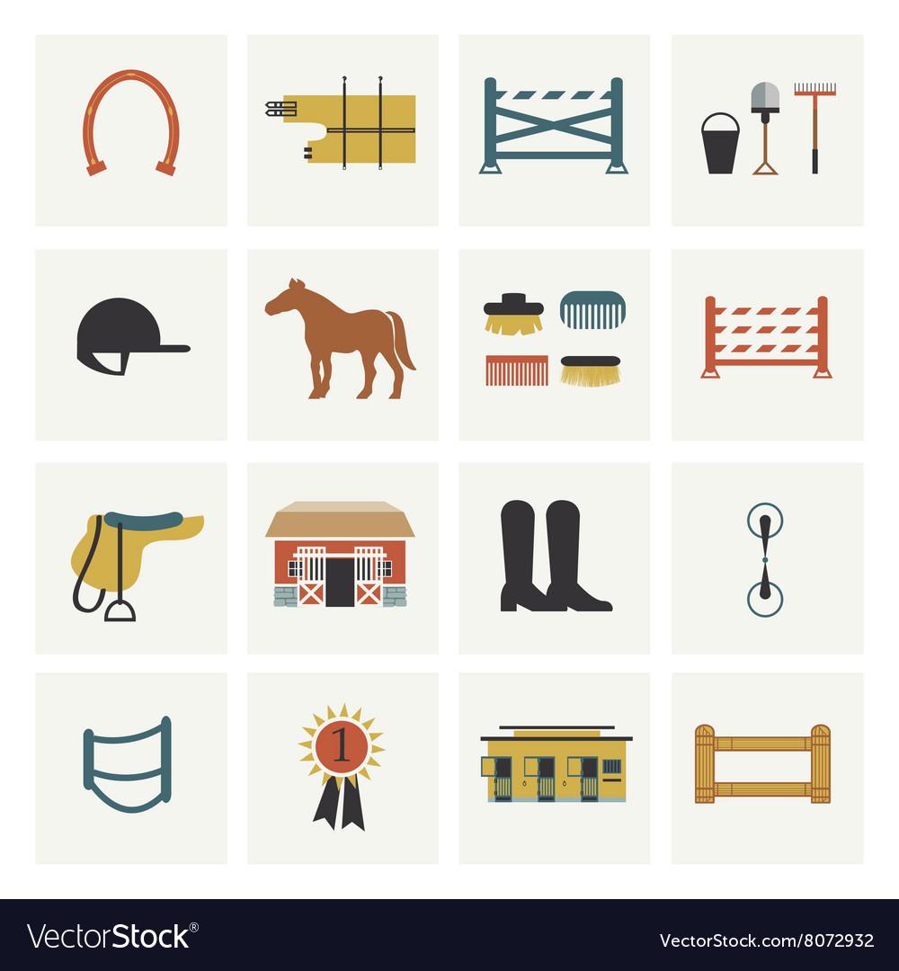 Set of horseback riding icons