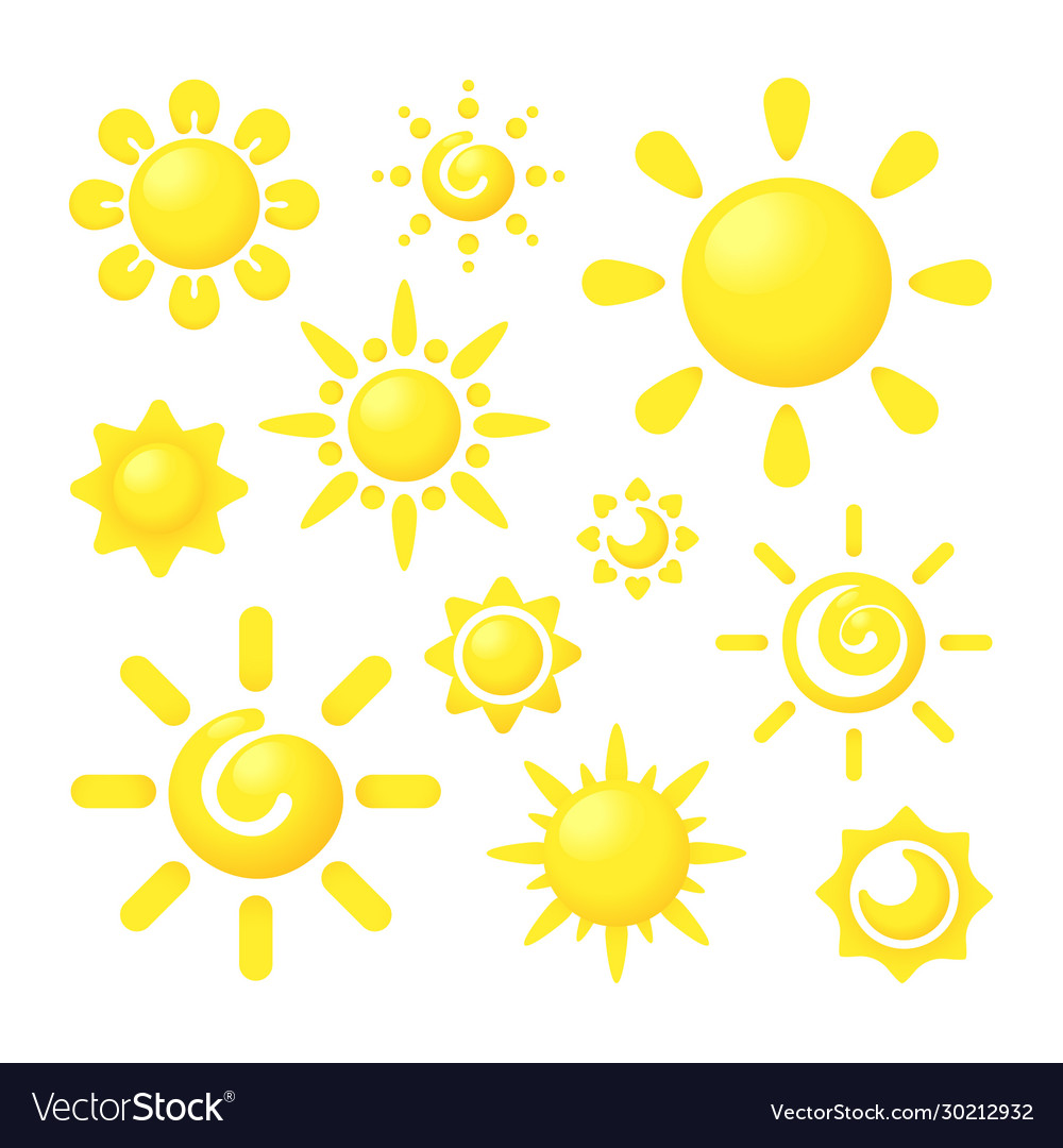 Sun shine circle forms with rays stylized graphic