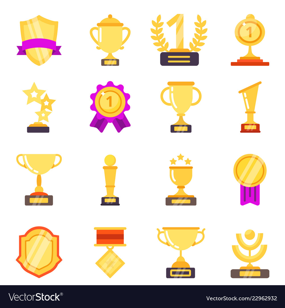 Trophy symbols achievement awards medals with