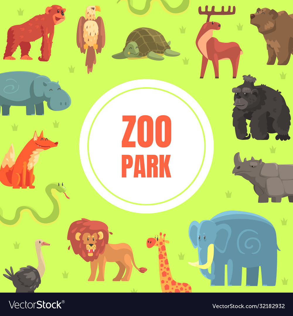 Zoo park banner template with cute wild african