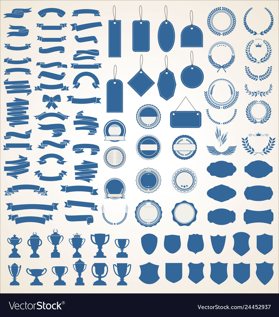 A blue collection of various black ribbons tags