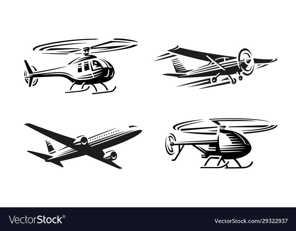 Air transport black silhouette