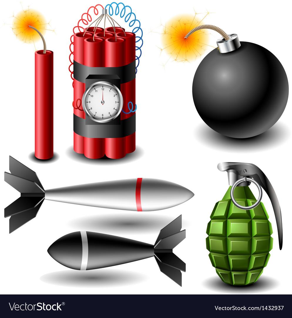 Bomb set vector image