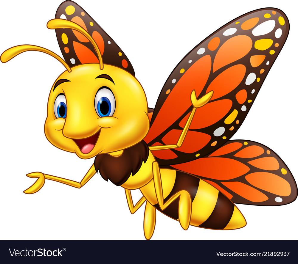 Cartoon happy butterfly isolated