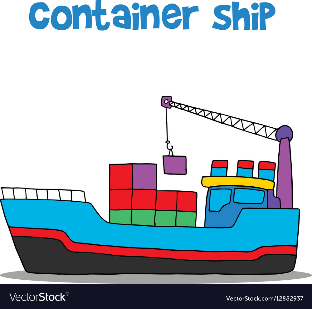 Cartoon of container ship Royalty Free Vector Image