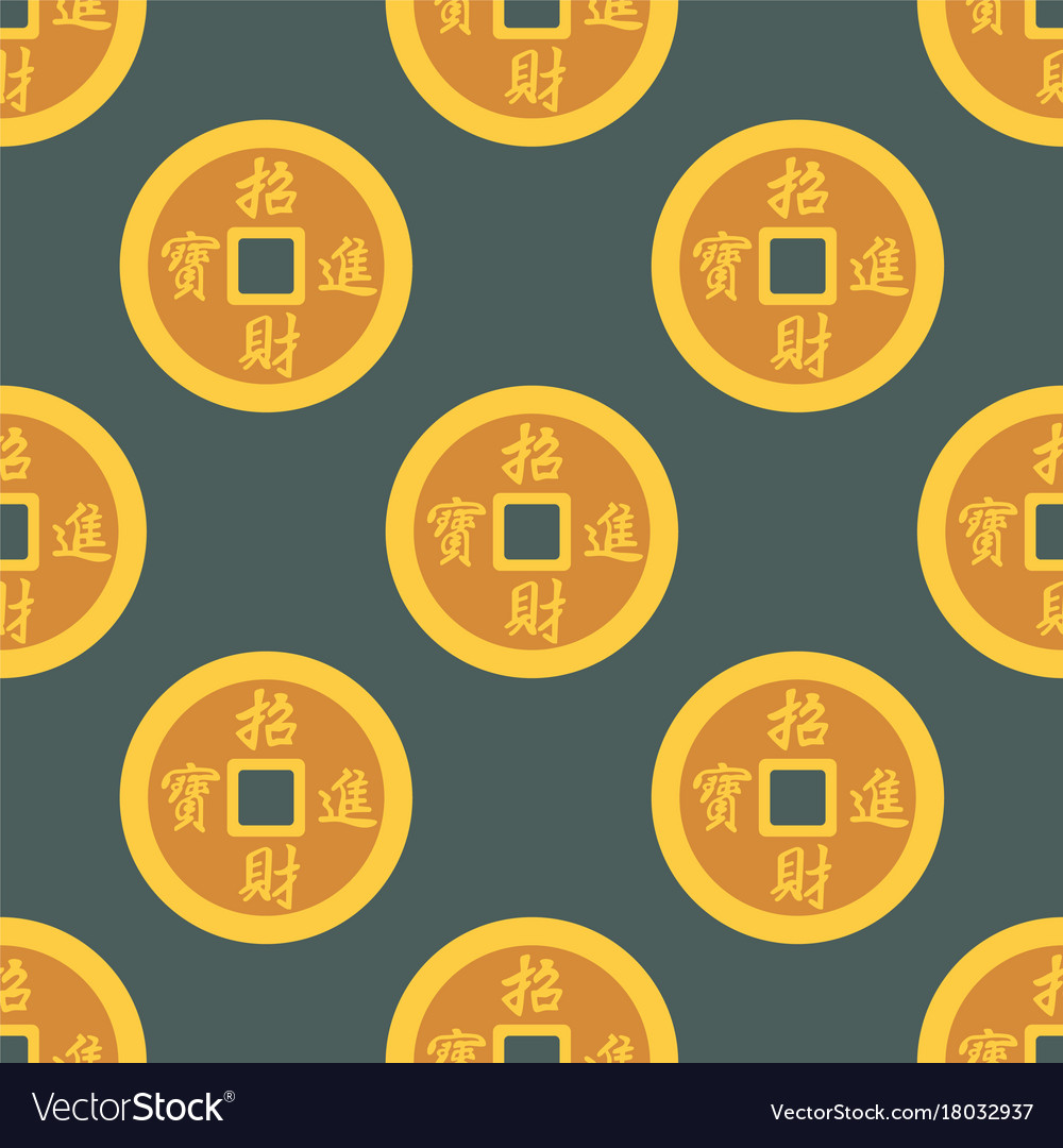 China gold money coins seamless pattern cash