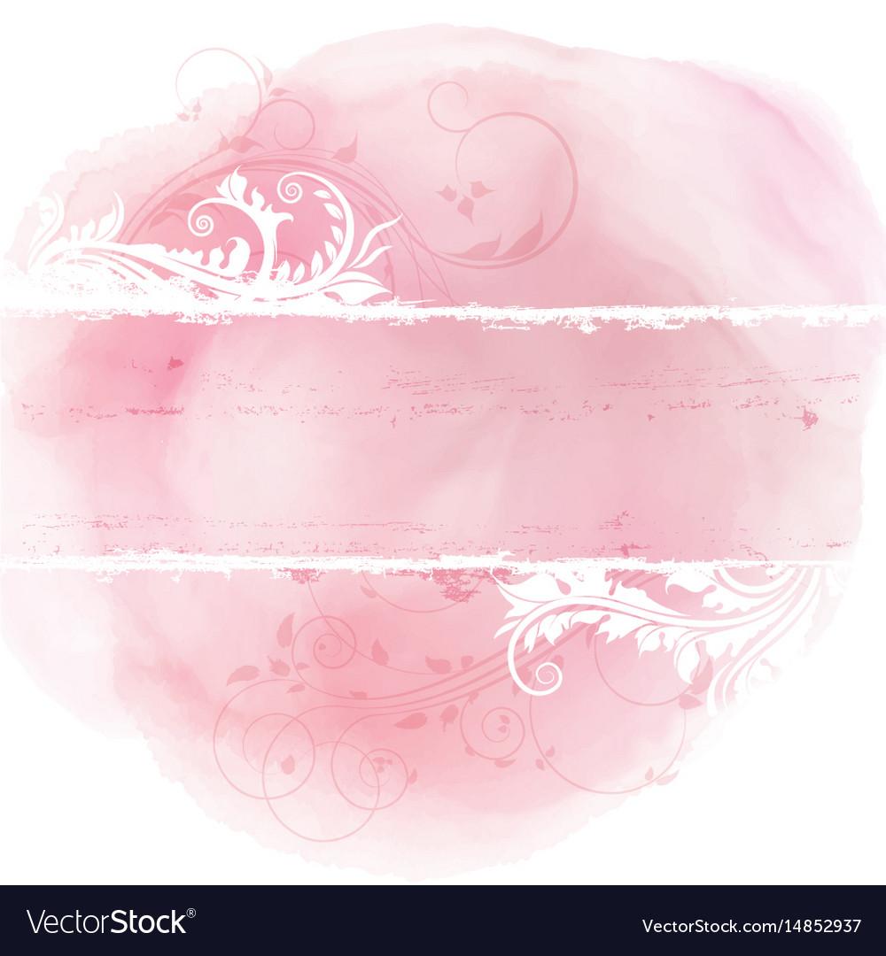 Floral Grunge Design On Watercolor Background Vector Image