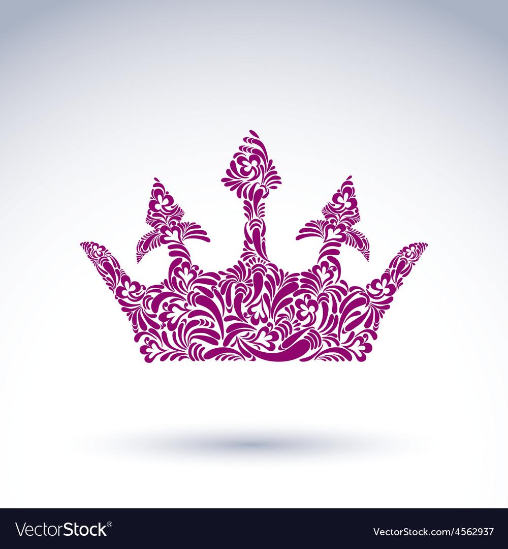 Flower Patterned Crown Art Royal Symbol King Vector Image